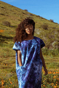 One Pocket Dress - Indigo Tie Dye