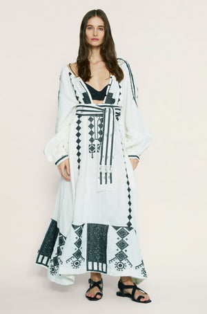 Souk Midi Dress in Linen with Embroidery