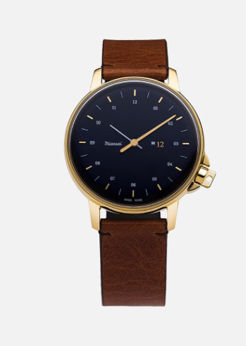 Watch M12 Gold Navy on Cognac Leather Strap
