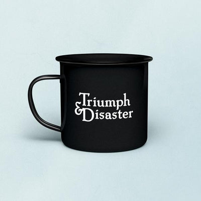 Triumph and Disaster Enamel Shave Mug