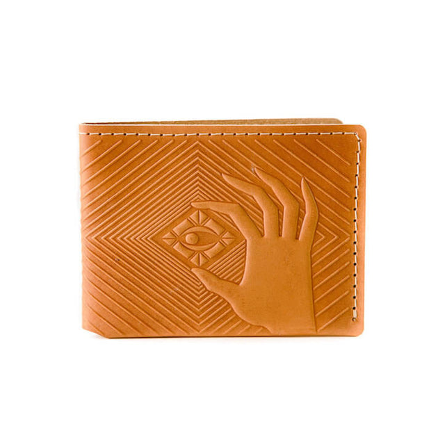 animal handmade deep diver bifold wallet tan