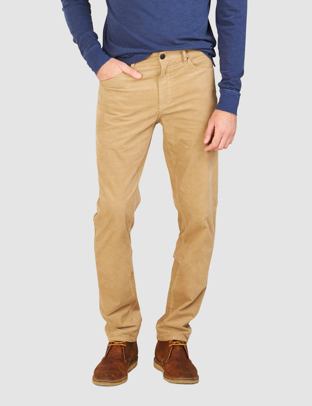 Faherty Brand comfort twill 5-pocket pants in corduroy khaki front view