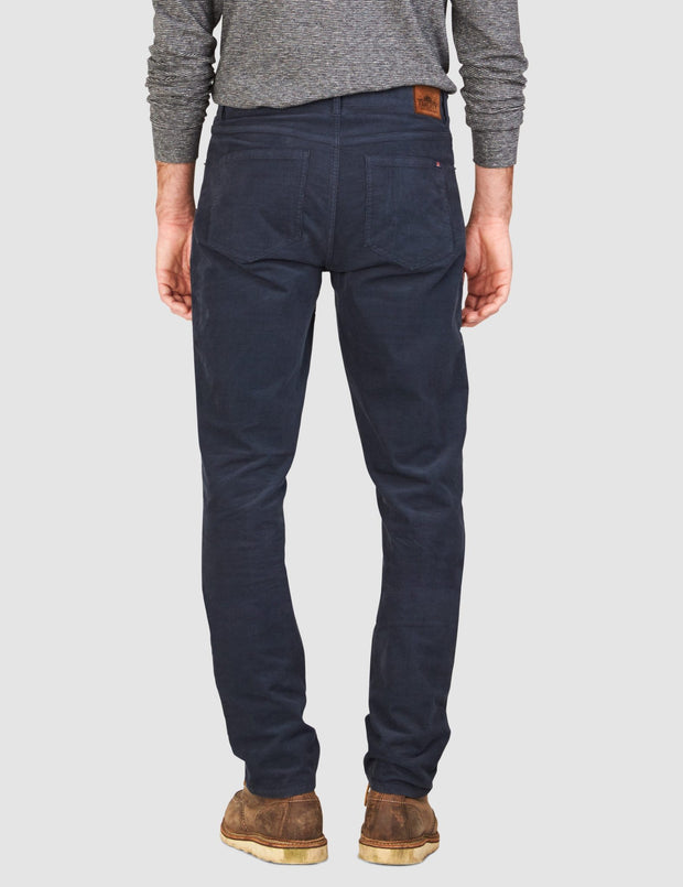 Faherty Brand comfort twill 5-pocket pants in corduroy navy back view