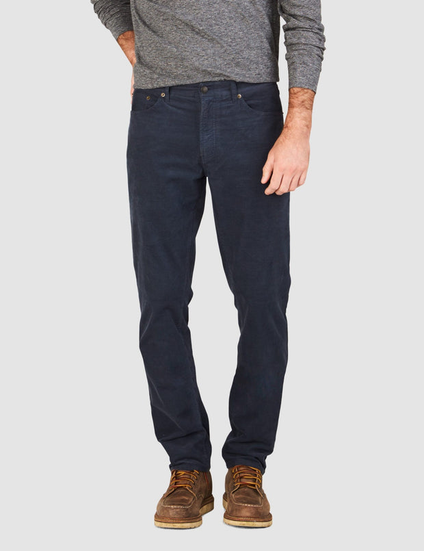 Faherty Brand comfort twill 5-pocket pants in corduroy navy front view