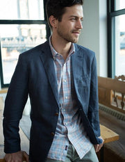 faherty amk cotton linen blazer washed navy