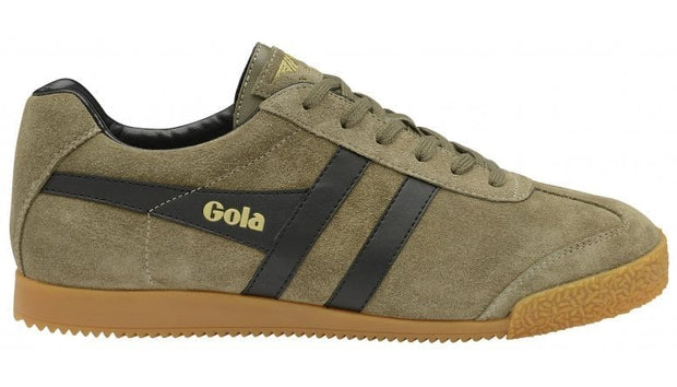 Gola harrier suede khaki/black classic trainer shoe