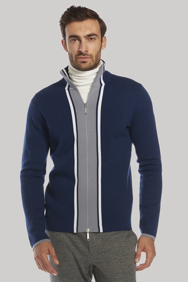 Zip up merino wool sweater by t christopher