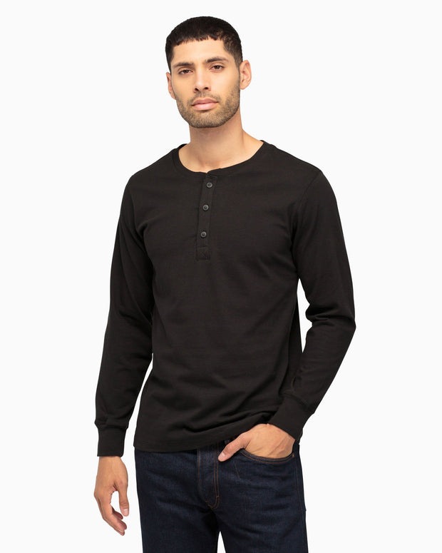 Richer poorer black long sleeve henley