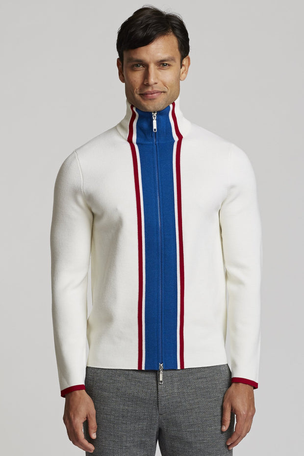 white zip up merino wool sweater available at the men's store in middleton, WI