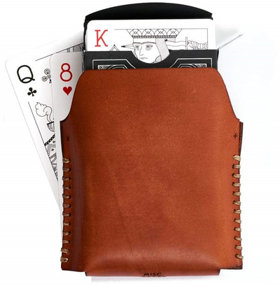 Single Leather Playing Cards Case w/ Deck