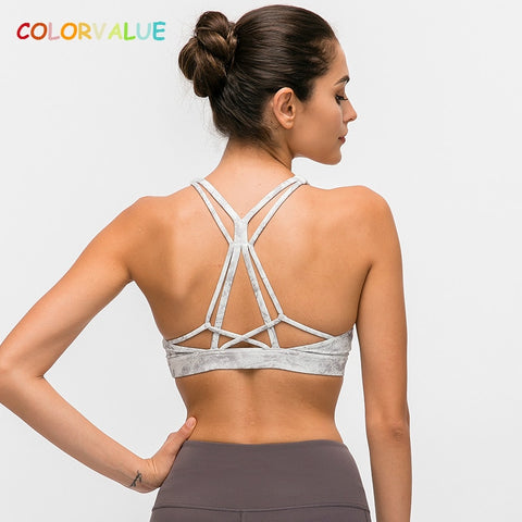 COLORVALUE Beautiful Strappy Workout Sports Bra