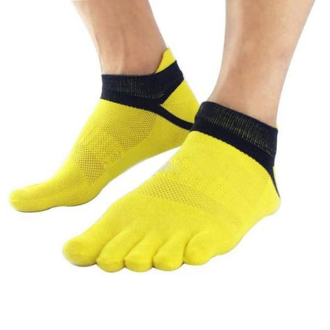 1 Pair Outdoor Men's Breathable Cotton Toe Socks Yellow
