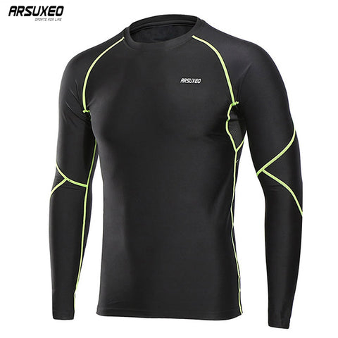 ARSUXEO Men's Compression Running Shirt Long Sleeves