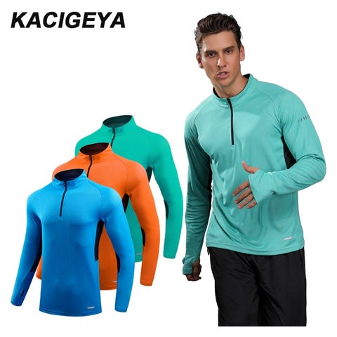 KACIGEYA Men's Running Shirt Long Sleeve