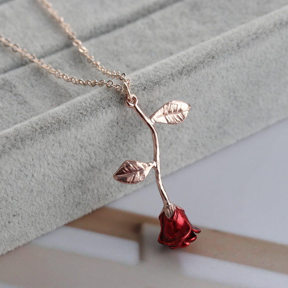 Red Rose Flower Pendant Necklace Beauty