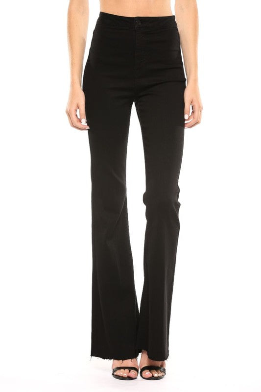 The High Rise Super Flare Jeans in Black