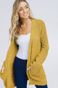The Polly Popcorn Cardigan in Mustard
