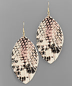 Leather Feather Marble Earrings
