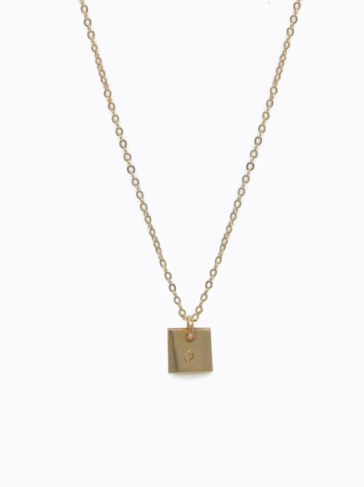 Mini Square Initial Necklace by Able