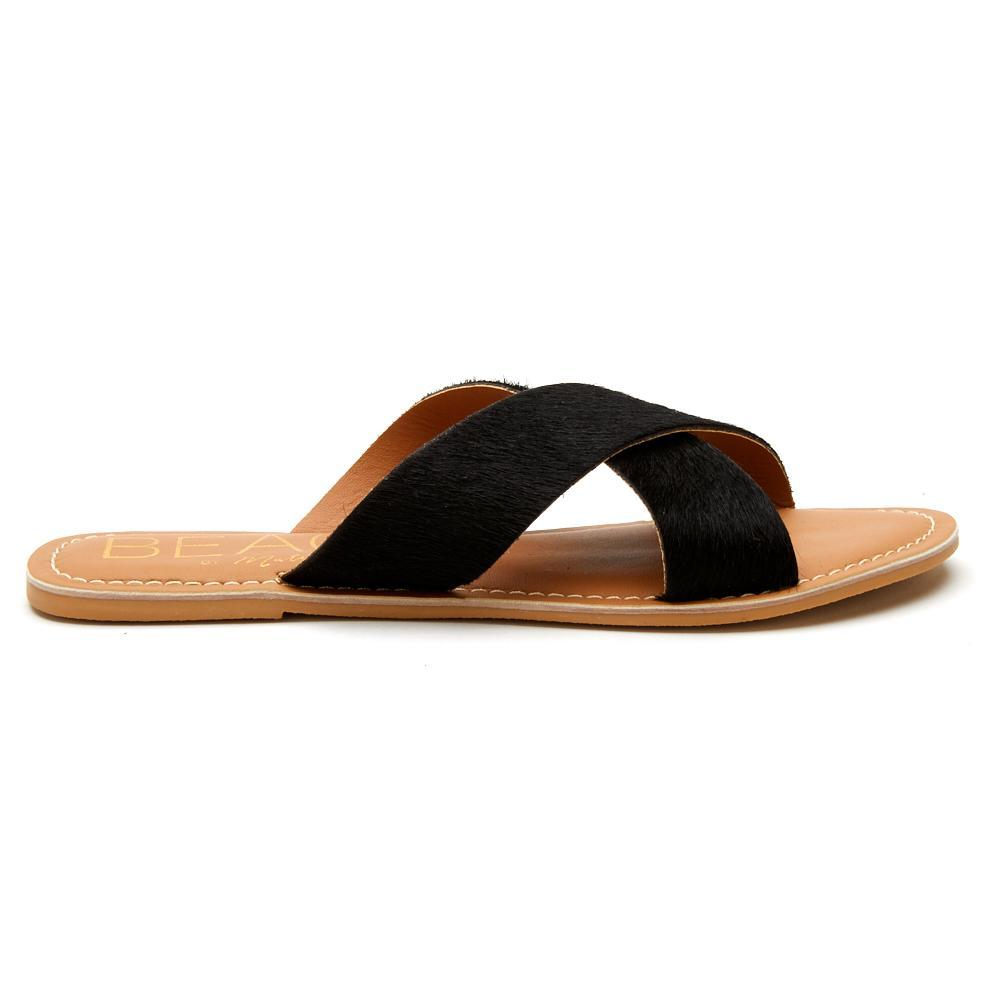 Pebble Sandals in Black Calf Hair