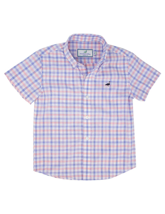 Lil Ducklings Short Sleeve Sportshirt in Santorini Peach by Properly Tied