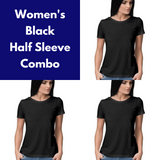 Plain Women's Half Sleeve Tee Combo
