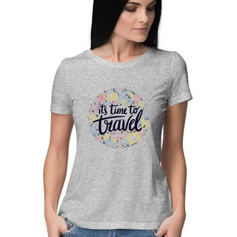 Time to Travel Women's Half Sleeve Tee - Shor Bazaar