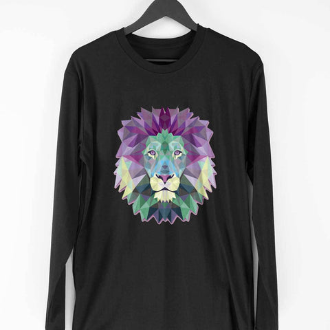 Polygon Lion Men's Full Sleeve Tee - Shor Bazaar