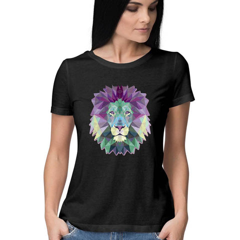 Polygon Lion Women's Half Sleeve Tee - Shor Bazaar