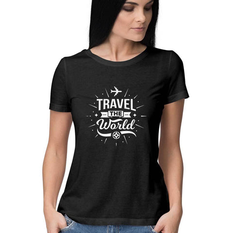 Travel the World Women's Half Sleeve Tee - Shor Bazaar