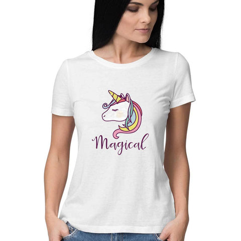 Magical Unicorn Women's Half Sleeve Tee - Shor Bazaar