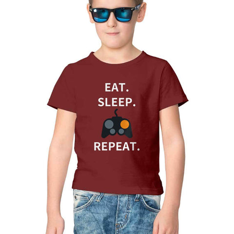 Eat Sleep Game Repeat Half Sleeve Tee for Kids