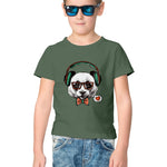 Headphone Dog Half Sleeve Tee for Kids