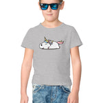 Lazy Unicorn Half Sleeve Tee for Kids