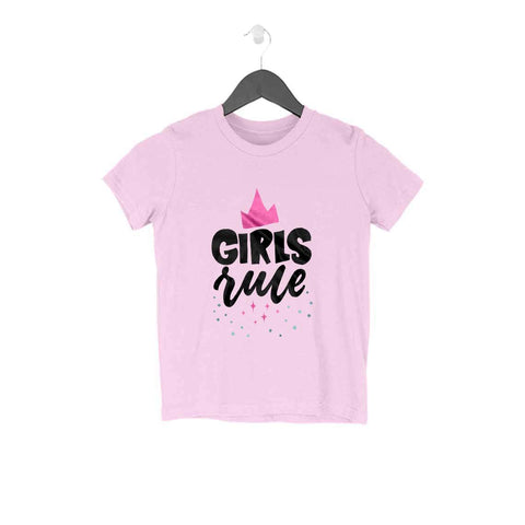 Girls Rule Half Sleeve Tee for Kids