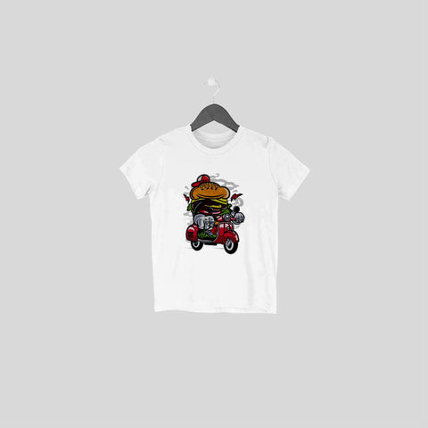 Burger Scooter Half Sleeve Tee for Toddlers
