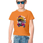 Burger Scooter Half Sleeve Tee for Kids