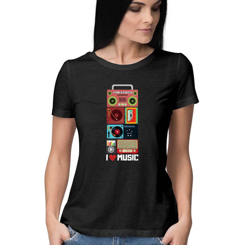 I Love Music Women's Half Sleeve Tee