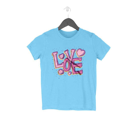 Love Typography Half Sleeve Tee for Kids