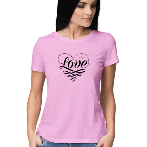 Love Heart Women's Half Sleeve Tee