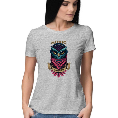 Music Owl Women's Half Sleeve Tee