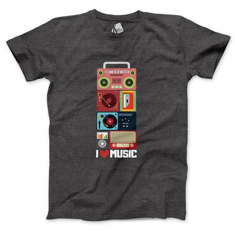I Love Music Men's Half Sleeve Tee