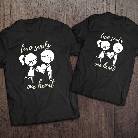 Two Souls One Heart Couple Tees