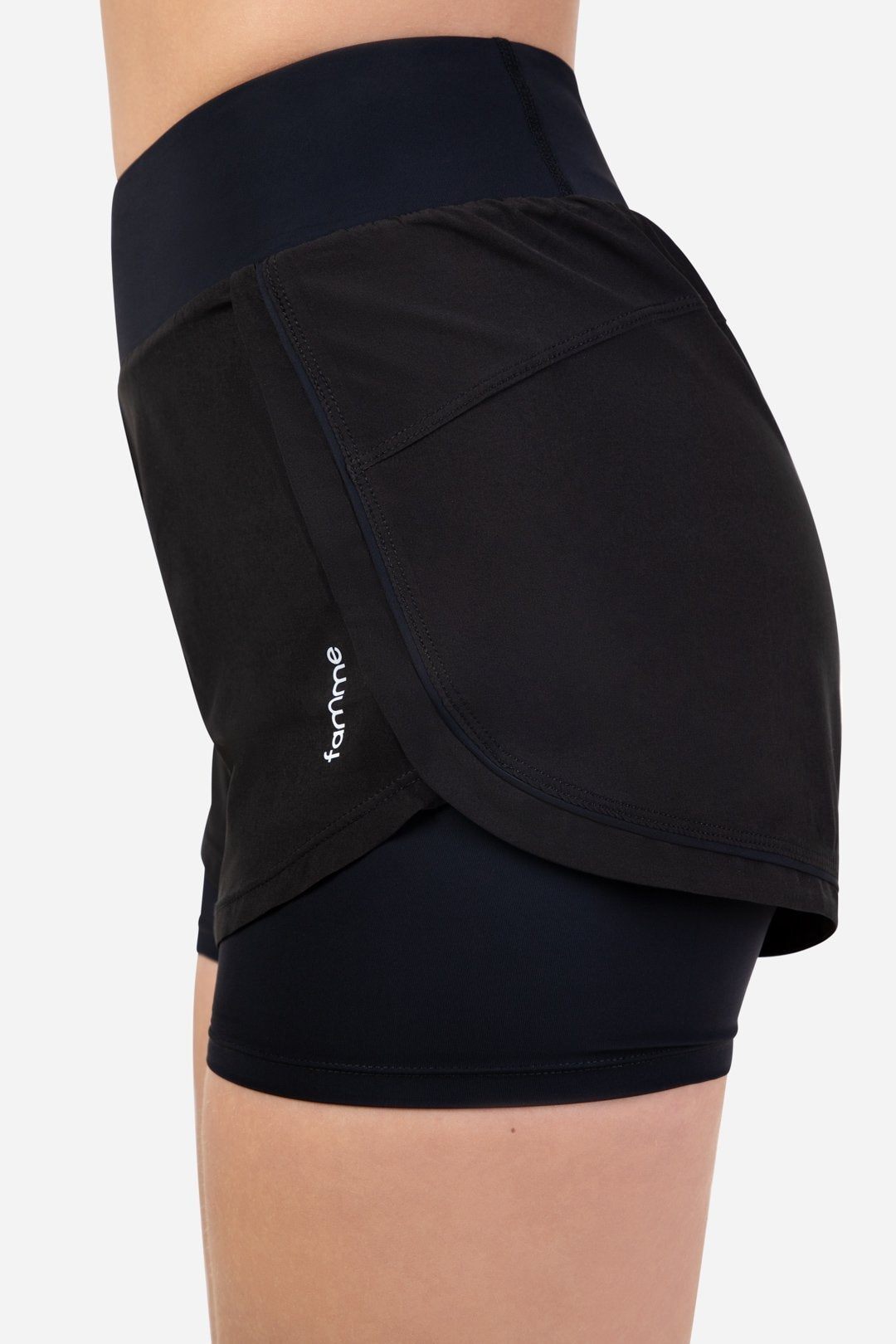 Black running shorts with two layers for good comfort