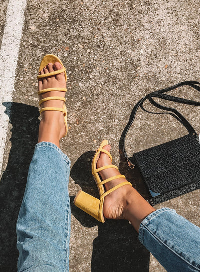 Billini Navo Heels Yellow Suede