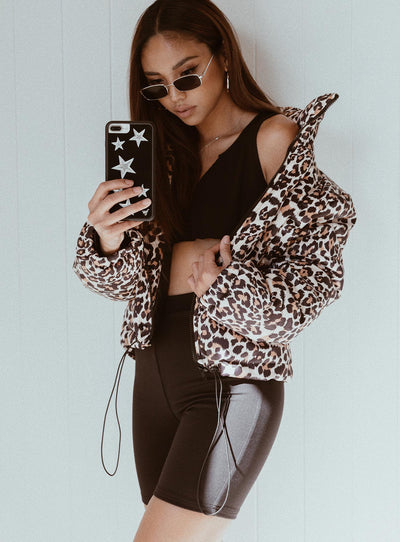 Polly Puffer Jacket Leopard