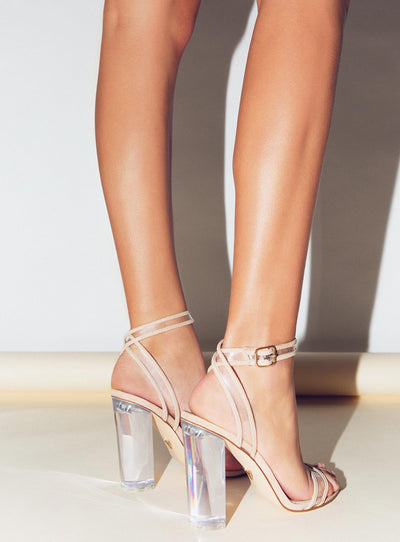 Windsor Smith Nougat Suede/ Clear Gabriel Heels