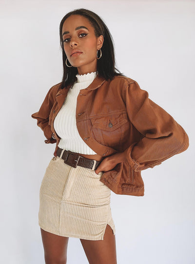 Western Denim Jacket Brown