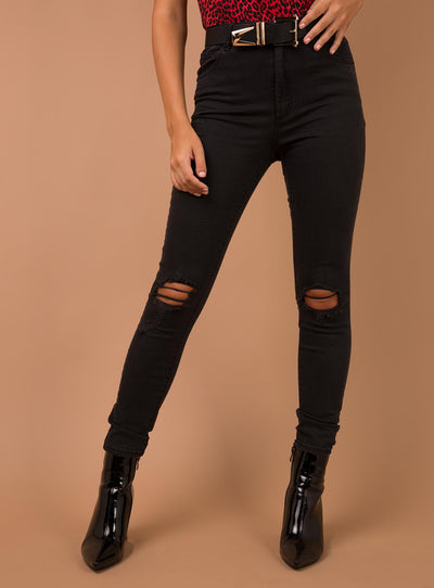Abrand Buster Black High Skinny Ankle Basher Jeans