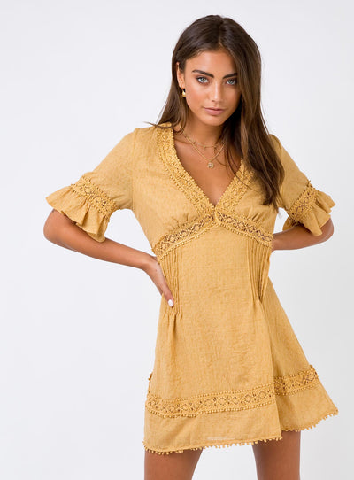 Darling Mini Dress Mustard